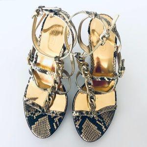 COACH✨Libertie Python Strappy Chain Heel Sandals
